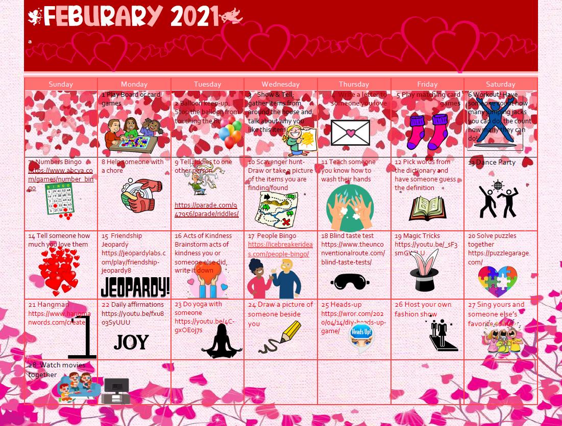 February 2021 Independent Activity Calendar