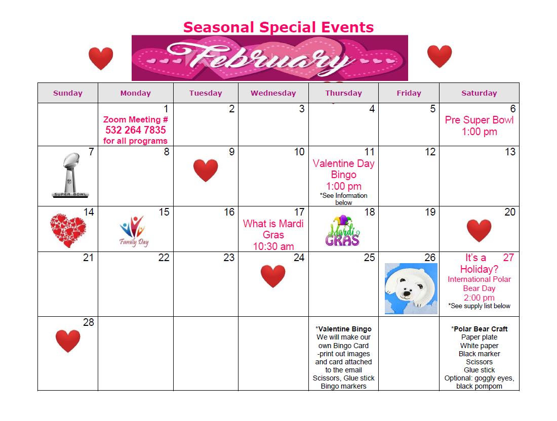 Seasonal Events-February 2021